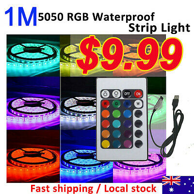 Waterproof 5050 RGB 1M 30 LEDS SMD LED Strip Light 5V Controller Car Boat AU