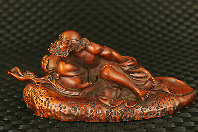 old Chinese boxwood hand carved arhat statue home decoration fortune gift