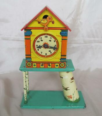 ANTIQUE 1920s CHILD METAL TIN COCKOO CLOCK