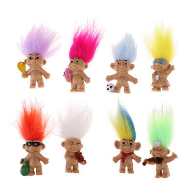 Colorful Lucky Troll Doll Mini Figures Toy Cake Toppers//Dollhouse Room Decor