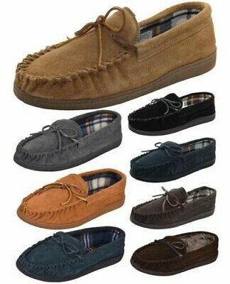 True Face Mens Moccasins Slippers Genuine Suede Leather Loafers Warm Lined Shoes