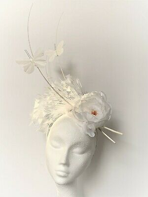 White butterfly feather Hat Fascinator Ascot Kentucky Derby Races Wedding hair