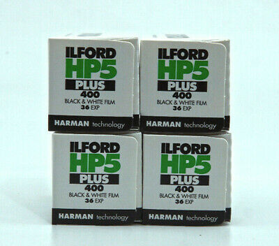 4 x Ilford HP5 Plus 35mm 135 Black & White Roll Film 400 ISO 36 EXP