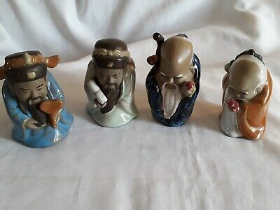 Vintage  Chinese Old Wise Men Mudmen x 4 Figurines - Beautiful pieces- 9 or 10cm