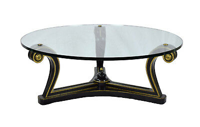 Vintage Mid-Century Hollywood Regency Ebony & Gold Scroll Support Coffee Table