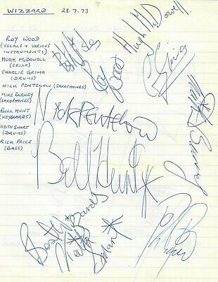Wizzard (Roy Wood) Signed Autographs