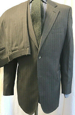 JACK VICTOR Mens Suit LORO PIANA 120s Wool 2 Button 42L Waist 32 Gray Stripe