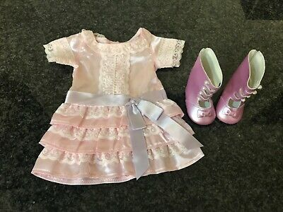 American Girl Doll Samantha's Pink Frilly Frock Dress Outfit Boots