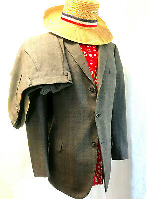 VINTAGE Mens Suit BROWN CHECK WOOL 3 Button 44R I/2 LINED Side Vents 1 PLEAT