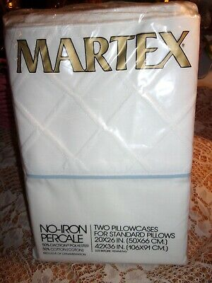 2 Vintage Martex Percale Pillowcases No Iron Standard PILLOWCASES SET OF 2 VTG