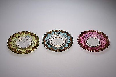 4Q 1800's HP Enameled Bohemian Multi-Colored Cup Plates