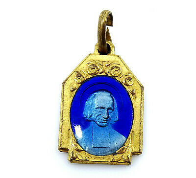 St John Vianney Medal Vintage Pendant Blue Enamel Cure d'Ars with French Quote