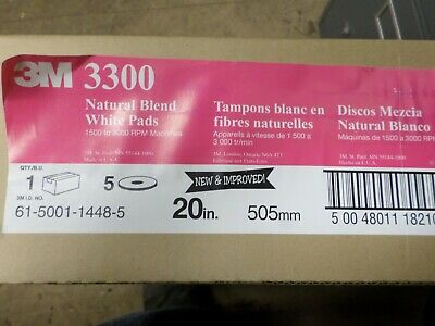 """3M Natural Blend White Pad 3300, 20"""" (Case of 5) 1500 to 3000 rpm machines"""