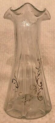 """Victorian Antique Fluted Hand Painted Old Clear Glass Pontil Mark Vase 7.5""""H"""