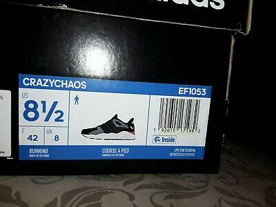 NEW Men's 8.5 adidas Crazychaos Black Grey White Running Shoes Sneakers EF1053