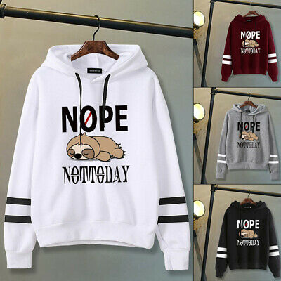 Women Not Today Sloth Print Hoodies Casual Hooded Sweatshirt Pullover Tops AU