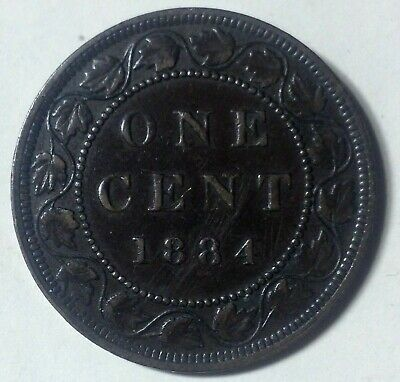 Canada 1884 Obv2 Large Cent in VF30 Condition. H89