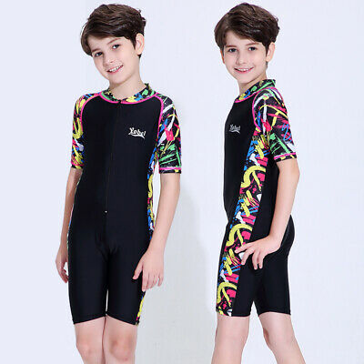 Kids One Piece Swimsuit Surfing Rash Guard Short Sleeve  UPF50+ Bathing Suit