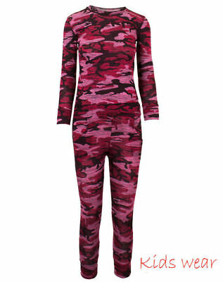 Girls Camo Print 2-Piece Lounge Wear Tracksuit Jogging Bottoms Top - 13-14 years