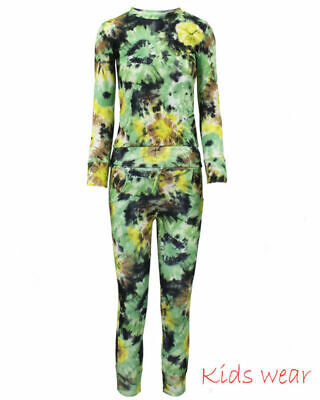 Girls FLORAL Print 2-Piece Lounge Wear Tracksuit Jogging Bottoms Top 11-12 years
