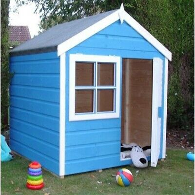 4 x 4 Wooden Tongue and Groove Playhut Playhouse with a Single Door and 1 Window