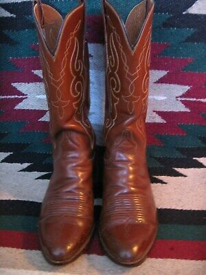 Very Nice Mens Vintage Lucchese San Antonio Saddle Tan  Style Cowboy Boots 9 D