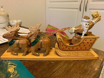 Santa Reindeer Sled Double Sided Hand Carved Wood Christmas Decoration NICE