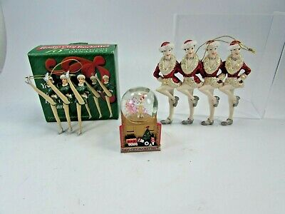 Lot Rockettes Showgirls Christmas Ornaments Snow Globe Kurt Adler 32158