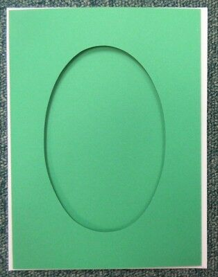 5 Double Fold 8x6 inch Craft Cards & Envelopes - Oval Aperture - Green