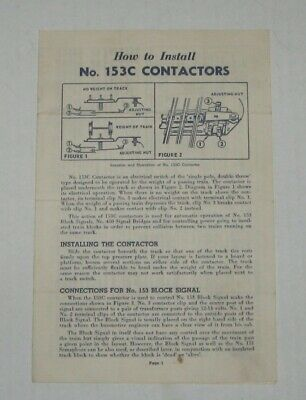 LIONEL INSTRUCTION SHEET FOR HOW TO INSTALL No. 153C CONTACTORS