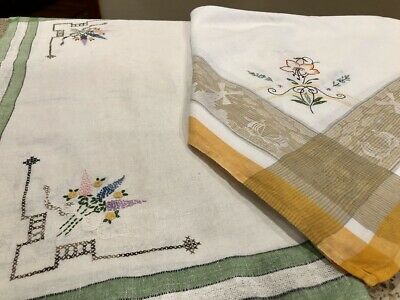 Vintage Tablecloth Lot Embroidered Hand Linen Windmill Ships Flowers Green 2