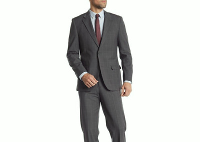 Nautica Taupe Windowpane Notch Lapel Suit Jacket $375 Sz 38R eb16