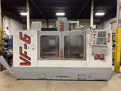 "USED HAAS VF-6 CNC VERTICAL MILL 1998 28"" X 64""  Table Cat 50 Chip Auger"