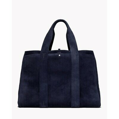 $595 THEORY Navy Blue Signature Genuine Suede Large Tote + Dust Bag