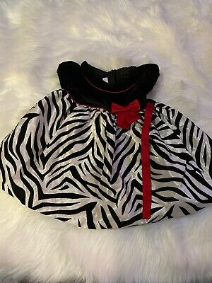 Bonnie Baby 18 Month Girl Christmas Valentine Dress Black White Striped Red Bow