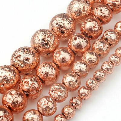 Natural Stone Rose Gold Lava Round Loose Beads 4mm 6mm 8mm 10mm DIY 15''