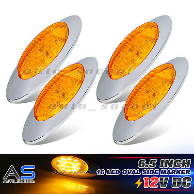 "4x Amber 16 LED 6.5"" Oval Indicator Side Marker Light 12V Peterbilt Freightliner"