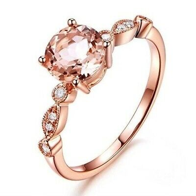 Junxin Brand Champagne Topaz Wedding Ring 10KT Rose Gold Filled Jewelry Size6-10