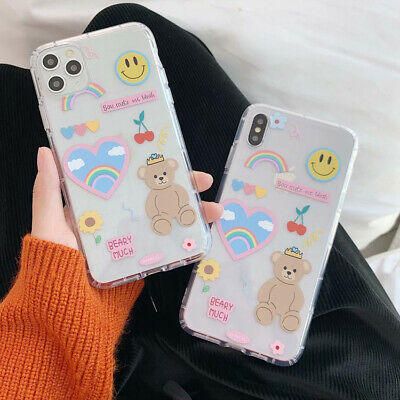 Silicone Cartoon Bear Phone Case Cover For iPhone 11 X XS Max XR 7 8 Plus