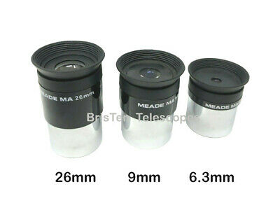 """Telescope Eyepieces - 26mm 9mm and 6.3mm ~ Meade Set Of Three 1.25"""" ~ NEW"""