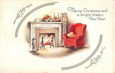 Wingback Chair & Grandfather Clock by Fireplace on Old Art Deco Christmas PC