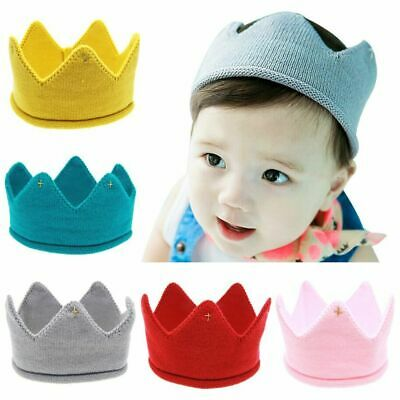 Baby Kids Headwear Photography Props Boys Girls Crown Knit Headband Hat