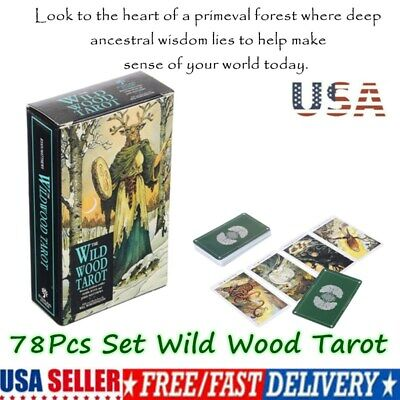 78Pcs Set Cards Wild Wood Tarot Cards Beginner Deck Vintage Fortune Telling USA-