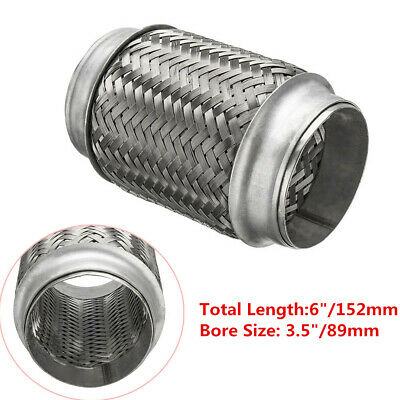 """Heavy Duty Stainless Exhaust Pipe Double Braid Flex Connector Pipe 3.5""""x6"""" Solid"""