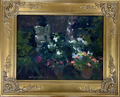 Kevin Macpherson Original Oil On Board Painting Impressionist Figure In Garden