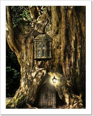 Fantasy Fairytale Miniature House In Tree Art Print Home Decor Wall Art Poster