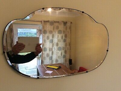 Vintage wall mirror, 1930's 40's shabby chic, bevelled glass, scalloped edge.