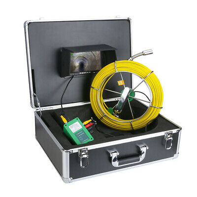 "7"" Pipe Inspection Tool LCD Monitor HD 1000TVL Camera 50M Fiberglass Cable Video"