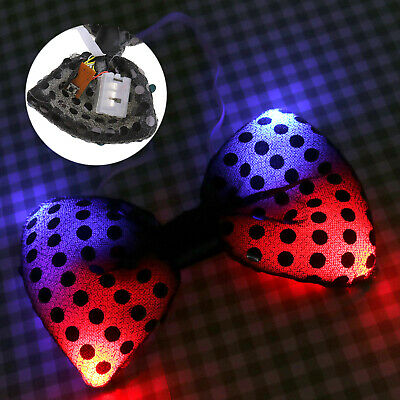 Light Up Bow Ties LED Flashing Blinking Sequin Hair Bows Wedding Party EDC