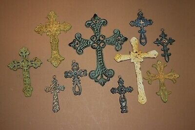 (10) Shabby Cottage Wall Decor, Crossland Collection Cast Iron Wall Crosses